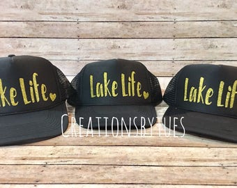 Lake Life, Lake Life Hat, Lake Hair, Lake Hair Don't Care, Messy Hair Don't Care, Custom Hat, Trucker Hat, Womens Trucker Hat, Womens Hat