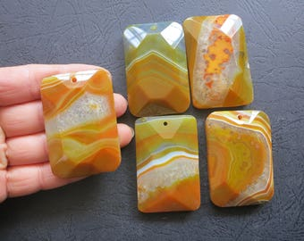 AS PICTURED- 5pcs Large Brownish Orange Druzy Agate Rectangle Pendant 35x55mm- top drilled,Mens Pendant