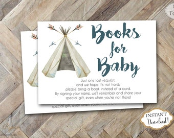 INSTANT DOWNLOAD - Teepee Books for Baby Card - Boho Bring a Book Instead of Card Insert -In lieu of a card Insert - Pow Wow Book Card 0441