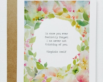 Virginia Woolf Quote GREETING CARD, June Watercolor, June Watercolor Art, Greeting Cards by June Watercolor