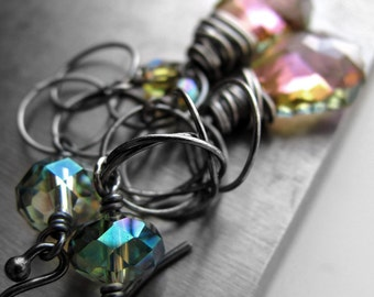 Iridescent Crystal Earrings, Wirewrapped Oxidized Sterling Silver, Swarovski Crystal with Aqua, Pink, Purple, Yellow, Seafoam - SPECTRUM