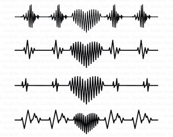 Heartbeat SVG, Heart svg, Cardiogram Heart SVG, Heart beat svg files for Silhouette Cameo and Cricut. Cardio Clipart PNG included