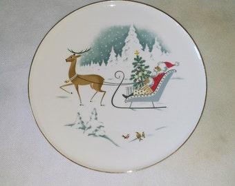Porcelain PLATE H&Co Selb Bavaria Germany Heinrich VINTAGE 1950s 1960s Christmas PLATE Santa Raindeer
