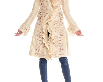1990s Embroidered Ruffle Evening Coat Size: S/M