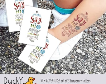 Set of 3 temporary tattoos «New adventures». Kids tattoos with inspiring lettering. Adventure and travel party favors and goodie bag supply.