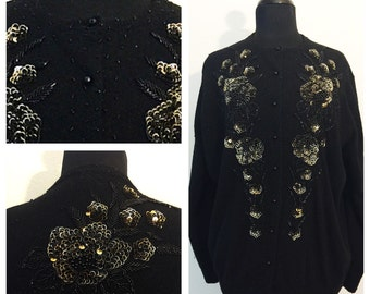 Original Vintage 1960's Black Beaded and Sequin Cardigan, Vintage Cardigan, Wool Cardigan, Beaded Cardigan, Size: Large.