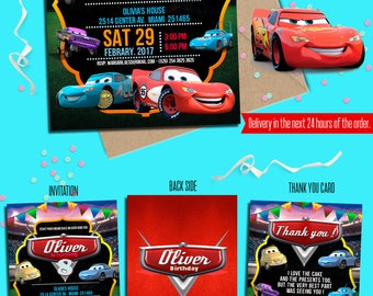 Cars birthday Invitation, Free Thank yuo card, Cars custom chalkboard invitation, Cars Lightening McQueen, Cars party, to Any age. C002