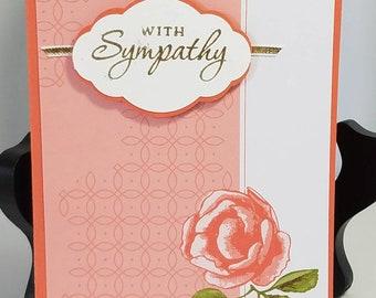 Sympathy, Coral Rose, gold embossed