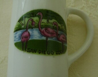 Miniature Souvenir Teacup and Saucer, San Diego Zoo, Flamingoes Made in Germany
