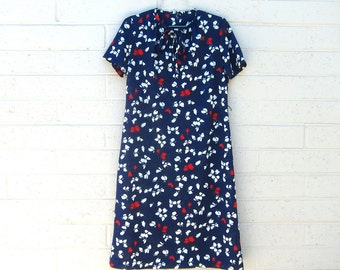 Vintage Shift Dress Butterfly Novelty Print Navy Blue Red White Neck Tie Small Medium Large