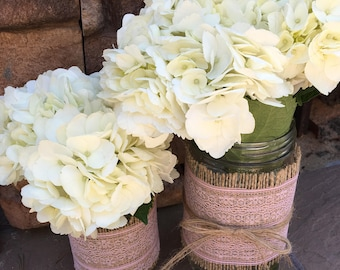 Mason Jar Wrap, Burlap & PINK Lace Mason Jar Decoration, Choose Size and Number of Wraps, Wedding, Shower, Party Decoration