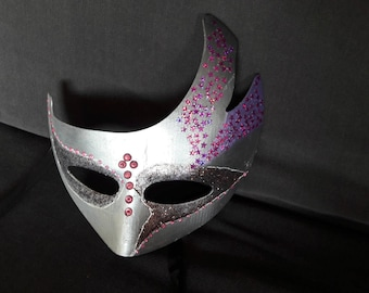 Pink and silver Venetian mask