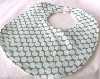 Full Moon Polka Dot in Blue - Boutique Bib - Amy Butler fabric Modern Baby Bib with terry cloth backing