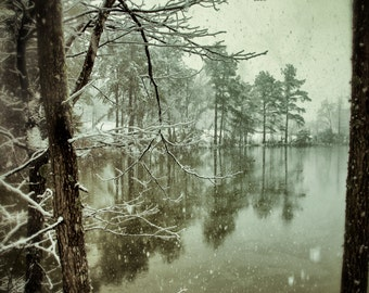 """Snowy Pond - 8x12"""" print of a snowy landscape - signed and matted"""
