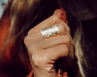 tree bark ring // cuff ring // brass ring