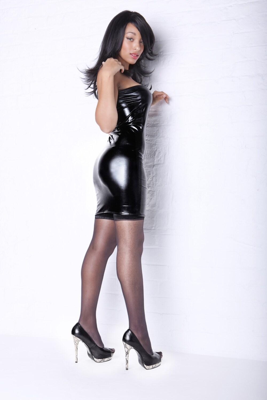 black wet look pvc lycra spandex mini dress sexy bodycon d33