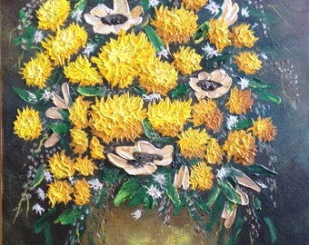 """Vintage, Original painting, Still life, Yellow Flowers, vase, Impressionistic, Textured, Oil Painting, on Canvas, Singed, 1984, 20"""" by 16"""""""