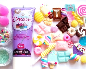 Decoden whip glue kit with 30pcs fake candy cabs, sprinkles, nozzles , choose color, craft supplies, cabochons, phone case deco,