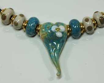 Sweetheart Necklace, Pendant, Glass Beads