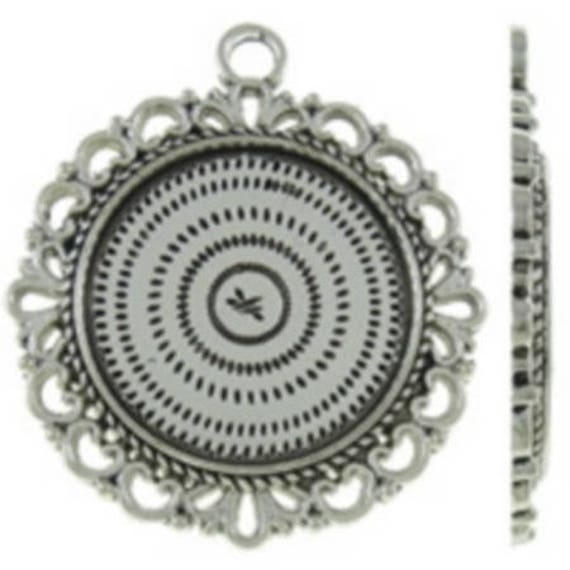 Support Cabochon 20 mm silver color retro