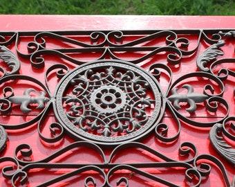 Vintage Wrought Iron Art Piece Garden Art Wall Art Home Decor Fleurs De Lys Geometric Pattern