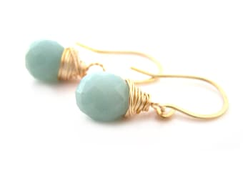 Mint Drop Aquamarine Gemstone Gold Filled Wire Wrapped Dainty Drop Earrings - Gift for Her