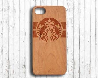 Starbucks  iphone 7 case wood  iphone 7 plus case iphone 7 case wood iphone 6s plus case gift for her   iphone 6c case