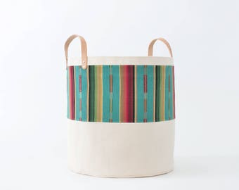 Large Natural Canvas Bucket Basket: Turquoise + Red