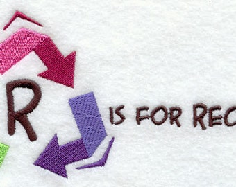 R is for Recycle Embroidered Flour Sack Hand/Dish Towel