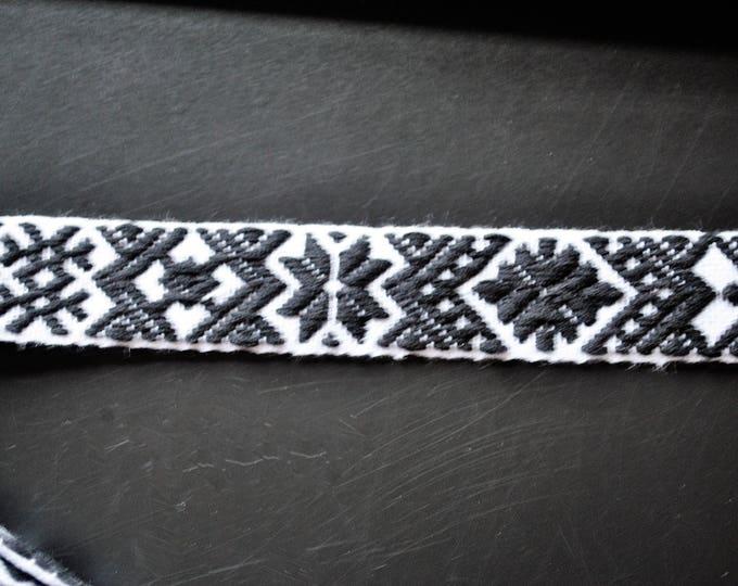 "Swedish Folk Art Woven Ribbon Wide Black & White 1.57"" 4 cm Per Yard"