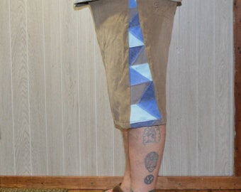 Patchwork Corduroy Shorts Tan Brown Blue Hippie Handmade Festival Heady Upcycled Mens 38