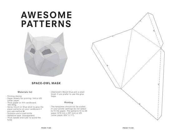 Owl Mask DIY Printable Animal HeadInstant Pdf