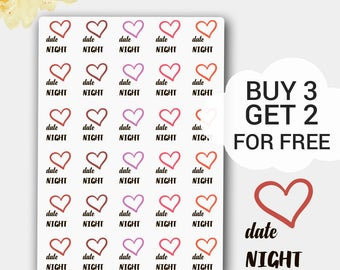 Date Night Stickers, Heart Stickers, Going Out Sticker, Dinner Date, Valentine's Day Sticker, Hand Lettered Sticker