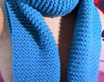 Turquoise scarf, knitted by hand
