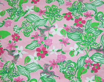 "17"" x 18"" Lilly Pulitzer Fabric  Pink and Green Tiger Lilly    Rare"