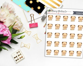 Kawaii Pug Planner Stickers