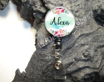 Floral Retractable Badge Holder,Personalized Badge Reel,Monogram Badge Reel,Monogram  Badge Holder