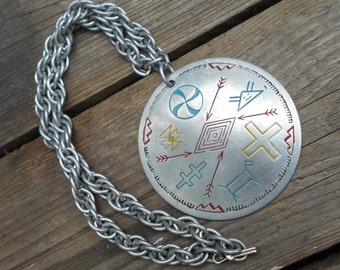 Vintage Aluminum chain and medallion large and chunky funky jewelry 1960s Tourist Shop Southwestern Navajo Symbols