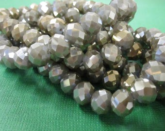 Faceted Rondelle Glass Bead, Steel Grey And Iris, 8x10mm Rondelle, 1mm Hole, Steel Grey Glass Bead, 25 pcs GB1140