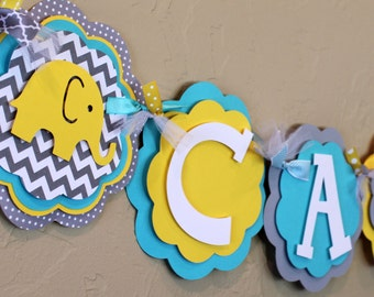 Elephant Chevron Stripe and Polka Dot ITS A BOY or NAME Banner Turquoise Blue Yellow and Gray Baby Shower Birthday Party Decorations Banner