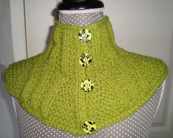 Round neck, collar, neck warmer, snood, shoulder warmer green wool with fancy buttons
