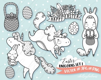 Easter Digital Stamp Set, Unicorn Vector Digi Stamps, Kawaii Graphics Instant Download, Commercial Use, Bunny, Chick, Spring, Easter Eggs