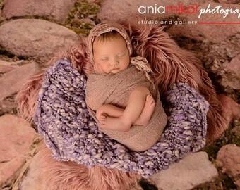Soft layering blanket. Purple layering blanket. Spring layering blanket. Spring photo prop. Photo prop. Newborn prop.