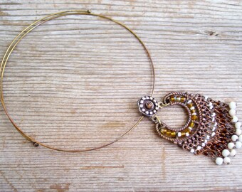 Boho Choker Necklace, Tribal Beaded Necklace, Vintage Copper Tribal Pendant Necklace, Beaded Copper Pendant, Copper Plated Wire Choker