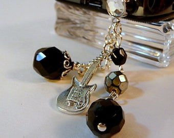 Dust plug dangle charm, cell phone charm, guitar cell charm, beaded cell charm, black fire polish, phone bling, iphone, android, handmade
