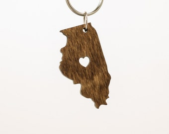 Illinois Wooden Keychain - IL State Keychain - Wooden Illinois Carved Key Ring - Wooden IL Charm