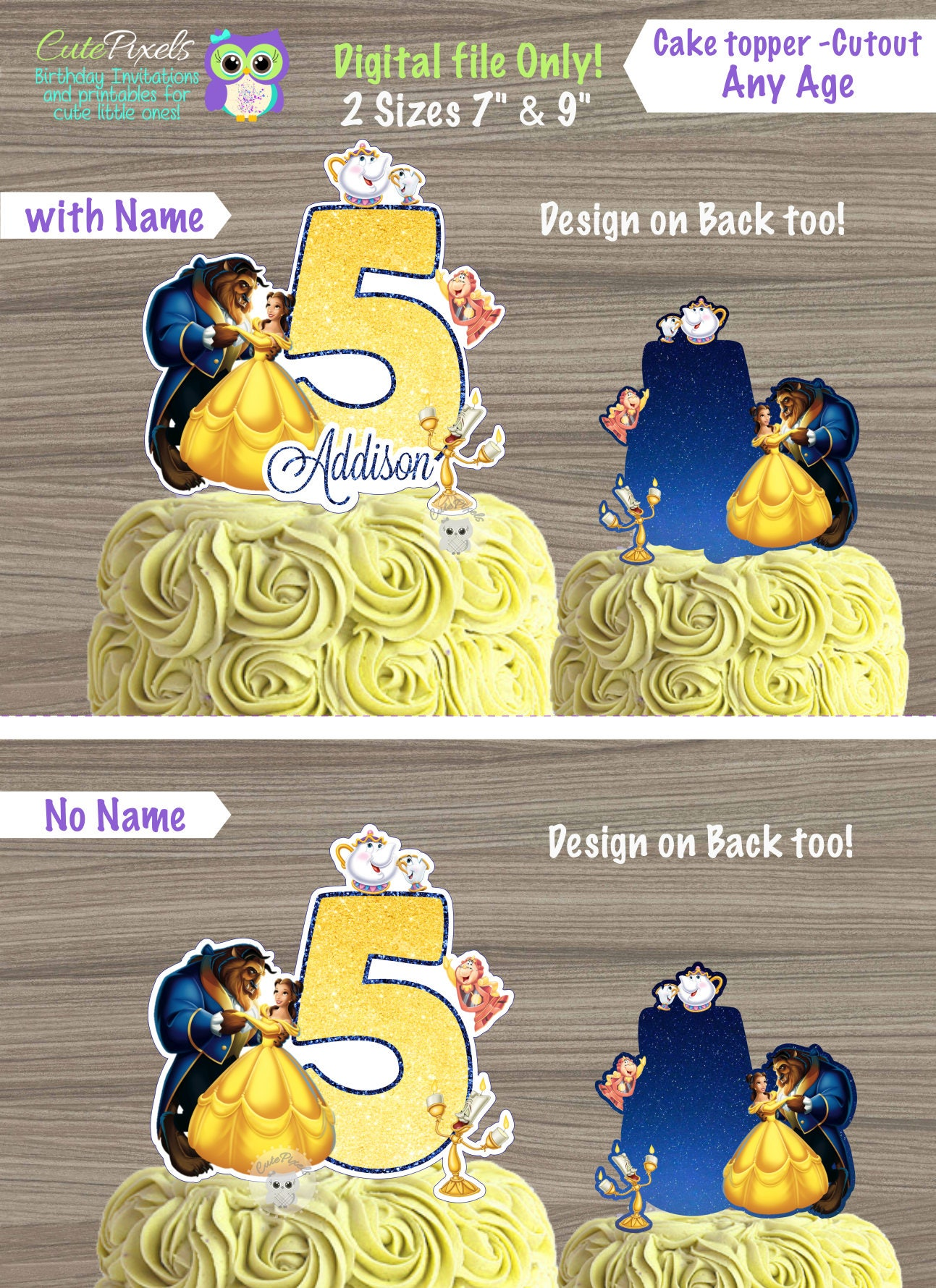 Beauty and Beast Cake topper Princess Belle Cake Topper