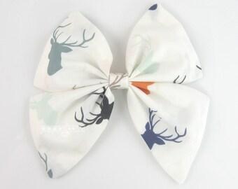 Deer Hair Bow, white hair bow, Autumn Fall hair bow, sailor hair bow, big hair bow, girls hair bow, large hair bow, cotton bow, bs5-wht-deer