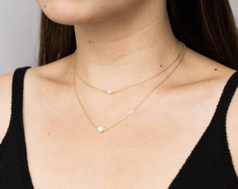 Double Layered Pearl Necklace / Dainty Freshwater Pearl Necklace / Elegant Pearl Necklace