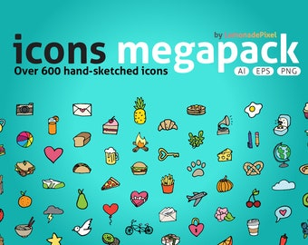 Icons Mega Pack - hand drawn icons clip art, planner stickers icons, printable planner stickers, instant download, food chores daily icons